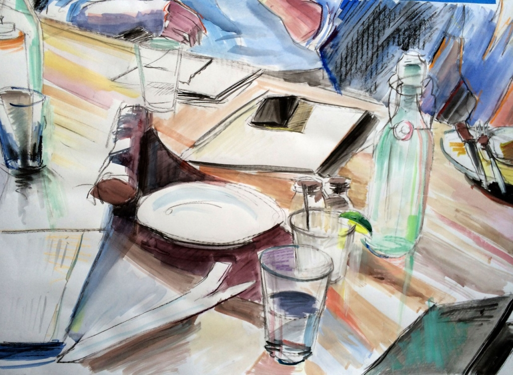 "Paying the bill, 34 x 24.5"", Gouache, Watercolor, Pastel, Charcoal"