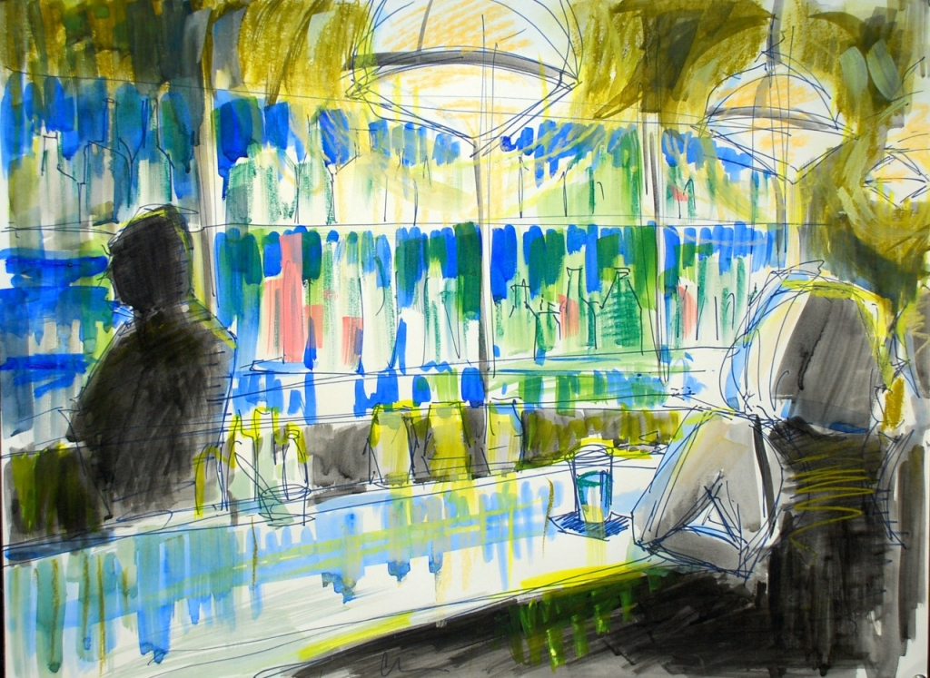 "Meet me at the bar, 24 x 18"", Gouache, Watercolor, Pastel, Charcoal"