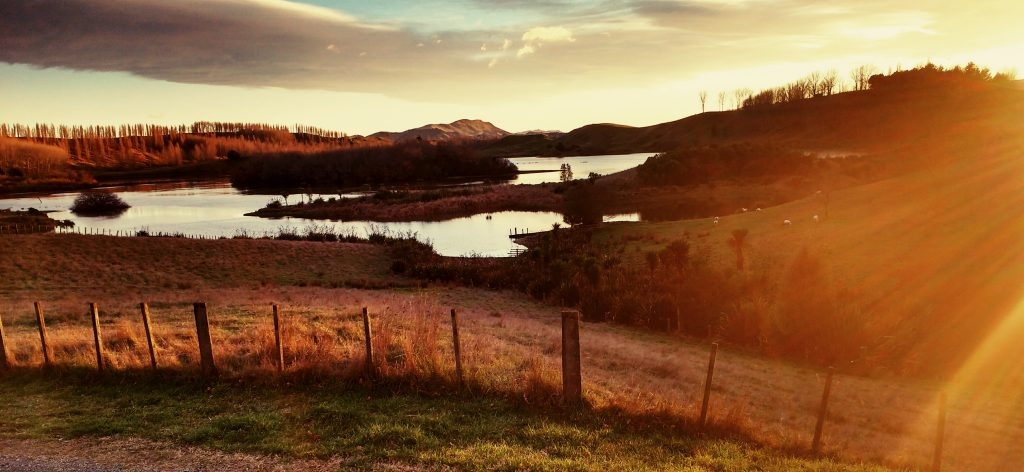"""Sunrise over the natural lake at """"The Family Farm"""", Hawke's Bay, NZ"""