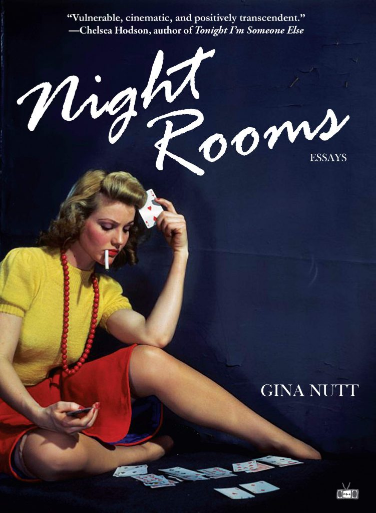 """Book cover of """"Night Rooms"""" showing blonde woman sitting on the floor in yellow shirt and red skirt. She has a cigarette in her mouth and is looking at a game of cards."""